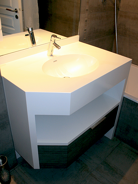 ensemble meuble lavabo en corian sur mesure dem. Black Bedroom Furniture Sets. Home Design Ideas